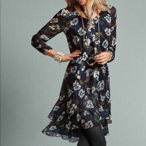 Cabi pirouette floral sheer sleeve French  dress
